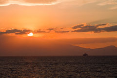 Sunset In The Aegean Sea Stock Photo