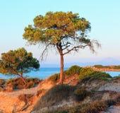 Sunset Aegean sea coast Chalkidiki, Greece. Aegean sea coast landscape, sunset view from Karidi beach Chalkidiki, Greece Royalty Free Stock Photos