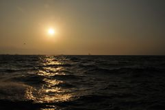 Sunset in the Aegean Sea. Counter coastal greece, Wavy sea stock image