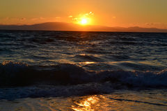 Sunset. On the Aegean Sea. Greece Royalty Free Stock Photos
