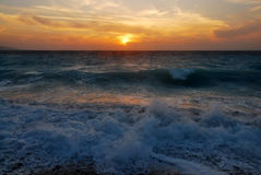Sunset in the Aegean Sea Stock Image