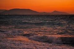 Sunset in the Aegean Sea Stock Image