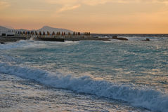Sunset in the Aegean Sea Royalty Free Stock Image