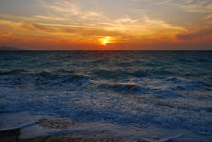 Sunset in the Aegean Sea Royalty Free Stock Photography