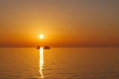 Sunset in Aegean sea Stock Photo