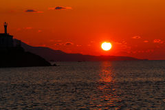 Sunset on the Aegean sea. royalty free stock photos