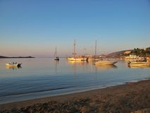 Sunset on Aegean Sea Royalty Free Stock Photography
