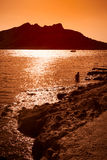 Sunset on Aegina Island Stock Image