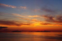 Sunset on the Aeolian islands Stock Image