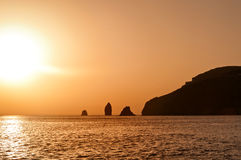 Sunset at Aeolian islands Stock Photos
