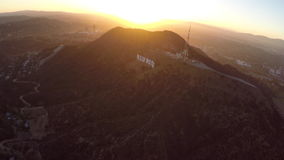 Sunset Aerial Hollywood Sign stock video