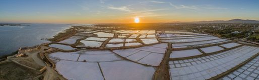 Sunset aerial panoramic view, in Ria Formosa wetlands natural park. Algarve. Stock Image