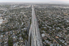 After Sunset Aerial of the San Diego 405 Freeway in Los Angeles Stock Photos