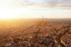 Sunset aerial view if Paris, France Royalty Free Stock Photo