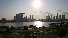 Sunset aerial view Singapore gardens by the bay stock footage