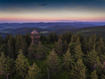 Sunset. Aerial view of the summer time in mountains near Czarna Royalty Free Stock Photography