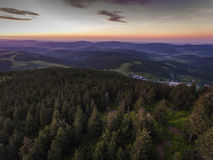 Sunset. Aerial view of the summer time in mountains near Czarna Stock Photos