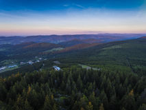 Sunset. Aerial view of the summer time in mountains near Czarna Stock Photo
