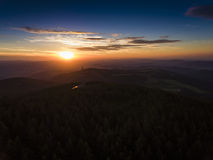 Sunset. Aerial view of the summer time in mountains near Czarna Royalty Free Stock Photos