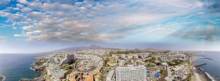 Sunset aerial view of Tenerife - Playa de Las Americas.  stock photos