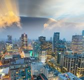 Sunset aerial view of Vancouver skyline, Canada Stock Photography