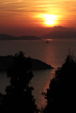 Sunset in Afionas, Corfu Stock Image
