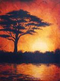 Sunset in africa in bright orange tones with a tree silhouette, beSunset in africa with a tree silhouette, beautiful colorful pain Stock Images