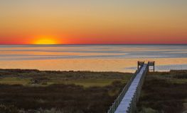 Sunset Afterglow Pamlico Sound Salvo North Carolina. The sunset afterglow over the Pamlico Sound in Salvo, North Carolina in the Outer Banks royalty free stock photography