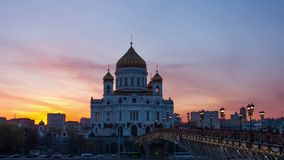 Sunset against the Cathedral of Christ the Saviour, Moscow, Russia Royalty Free Stock Images