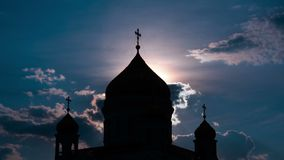 Sunset against the Cathedral of Christ the Saviour, Moscow, Russia, Royalty Free Stock Photo