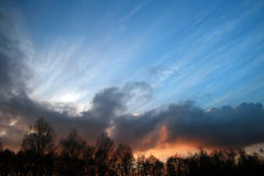 Sunset against forest. In czech republic Stock Photo