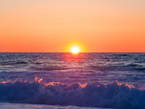 Sunset at Agios Ioannis beach in Lefkada Royalty Free Stock Photography