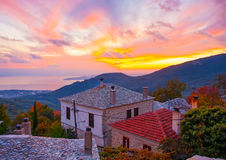 Sunset in Agios Lavrendios Royalty Free Stock Photography