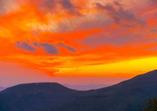 Sunset in Agios Lavrendios Stock Images