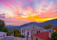Sunset in Agios Lavrendios Royalty Free Stock Images