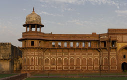 Sunset at Agra Fort, Agra. Agra Fort, is a monument, (Hindi: आगरा का किला, Urdu: آگرہ قلعہ‎) a UNESCO World Heritage site located stock photo