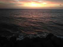 Sunset On Aguada Puerto Rico Beach stock photos