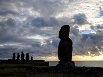 Sunset in Ahu Tahai. Easter Island Royalty Free Stock Photo