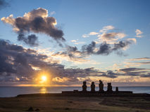 Sunset in Ahu Tahai. Easter Island Stock Images