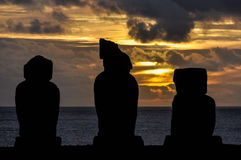 Sunset in Ahu Tahai, Easter Island, Chile. Sunset in Ahu Tahai moai site in Easter Island, Chile Royalty Free Stock Images