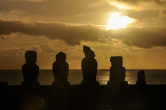 Sunset in Ahu Tahai, Easter Island, Chile Royalty Free Stock Images