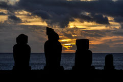 Sunset in Ahu Tahai, Easter Island, Chile Stock Image