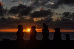 Sunset at Ahu Tahai in Easter Island, Chile Royalty Free Stock Images