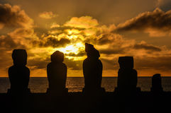 Sunset at Ahu Tahai in Easter Island, Chile Stock Images