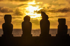 Sunset at Ahu Tahai in Easter Island, Chile Stock Photo