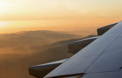 Sunset from the sky. Just before landing Royalty Free Stock Photo