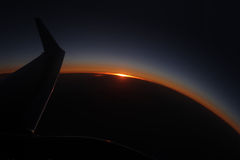 Sunset from airplane Royalty Free Stock Images