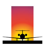 Sunset Airplane. A simple illustration of a silhouetted airplane in front of a sunset sky Vector Illustration