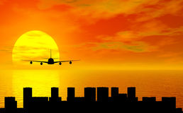 Sunset with airplane stock images