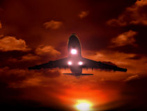 Sunset airplane. A airplane flying in the sky, Provide a travel and airline services concept Stock Images